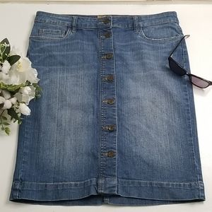 Kut From The Kloth Button Front Jean Skirt Sz 8
